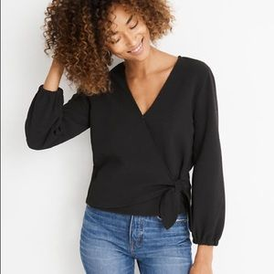 Madewell Texture & Thread Crepe Wrap Top XS NWT
